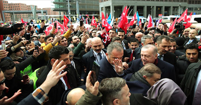 Erdoğan'a Berlin'de coşkulu karşılama