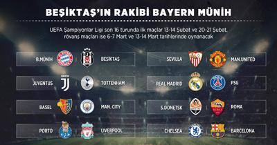 Besiktas'in Sampiyonlar Ligi'ndeki rakibi Bayern Münih oldu